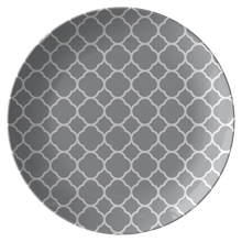 Load image into Gallery viewer, Gray Quatrefoil Plate Dinnerware Unbreakable