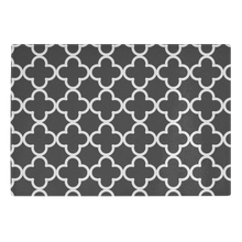 Load image into Gallery viewer, Black and White Quatrefoil Tempered Glass Cutting Board