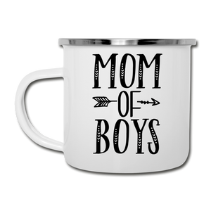 Mom Of Boys White Enamel Camper Mug - white