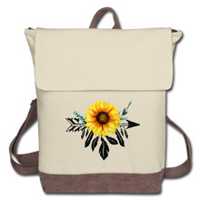 Load image into Gallery viewer, Sunflower Dreamcatcher Design on Canvas Backpack - ivory/brown