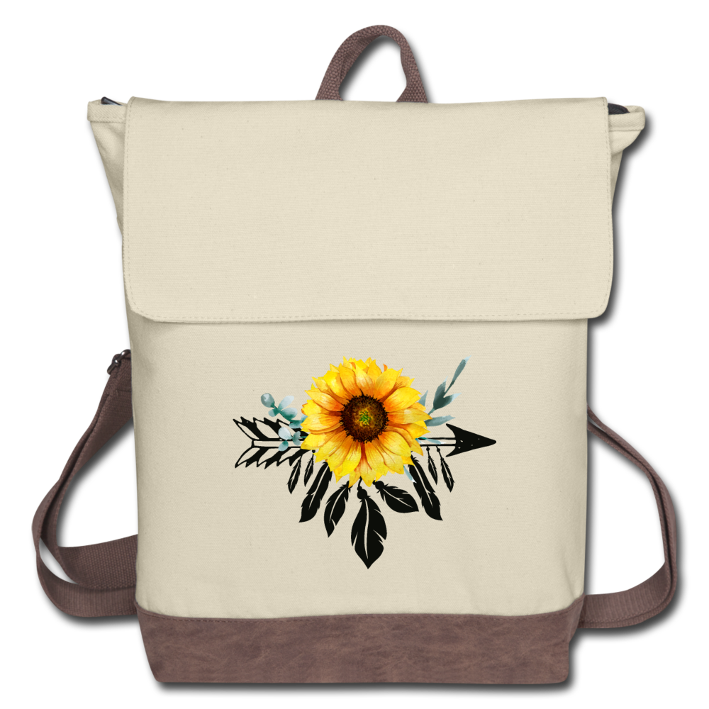 Sunflower Dreamcatcher Design on Canvas Backpack - ivory/brown