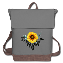 Load image into Gallery viewer, Sunflower Dreamcatcher Design on Canvas Backpack - gray/brown
