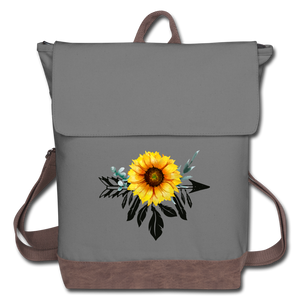 Sunflower Dreamcatcher Design on Canvas Backpack - gray/brown
