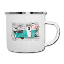 Load image into Gallery viewer, Rustic Teal Camper Design on White Enamel Camping Mug - white