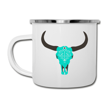 Load image into Gallery viewer, Turquoise Boho Cow Skull Camper Mug Enamel - white