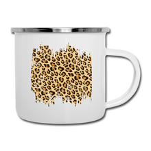 Load image into Gallery viewer, Distressed Leopard Print on White Enamel Camping Mug Cup - white