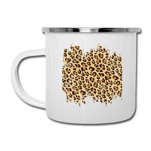 Distressed Leopard Print on White Enamel Camping Mug Cup - white
