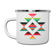 Load image into Gallery viewer, Serape Style Tribal Design White Enamel Camping Mug - white