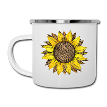 Load image into Gallery viewer, Cheetah Sunflower Design on White Enamel Camping Mug - white