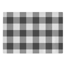 Load image into Gallery viewer, Black and White Buffalo Plaid Tempered Glass Cutting Board