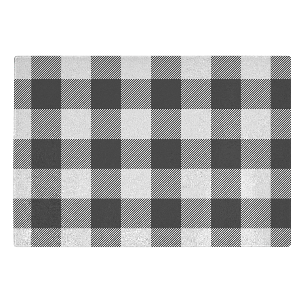 Black and White Buffalo Plaid Tempered Glass Cutting Board