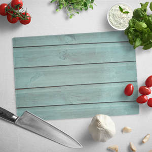 Rustic Turquoise Wood Design Tempered Glass Cutting Board