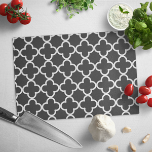 Black and White Quatrefoil Tempered Glass Cutting Board