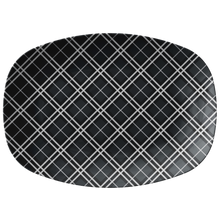"Load image into Gallery viewer, Gray and White Plaid Serving Platter 10"" x 14"" party snack tray"