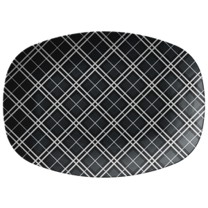 "Gray and White Plaid Serving Platter 10"" x 14"" party snack tray"