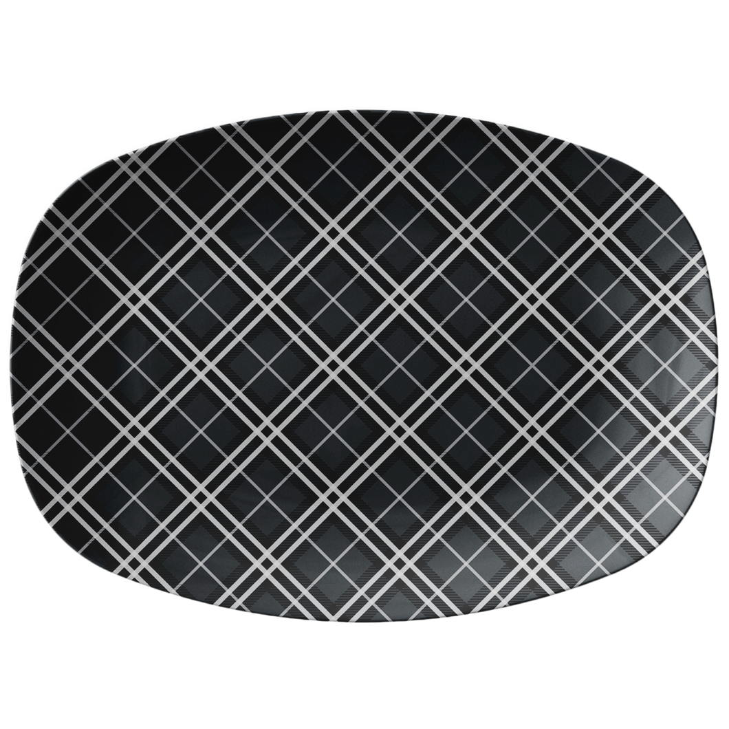 Gray and White Plaid Serving Platter 10