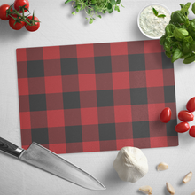 Load image into Gallery viewer, Red and Black Buffalo Plaid Tempered Glass Cutting Board