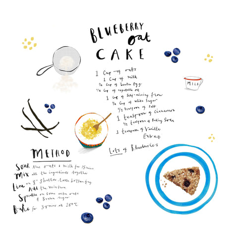 Blueberry Oat Cake illustration by Katy Pillinger Designs