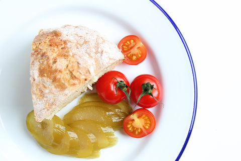 Tomatoes pickled cucumber and potato bread by Katy Pillinger Designs