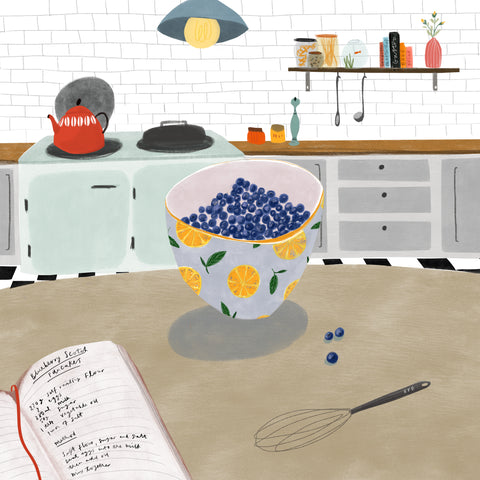 Food illustration Blueberries | Katy Pillinger Designs