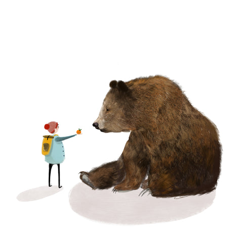 Boy and Bear Illustration Strong and Brave by Katy Pillinger Designs