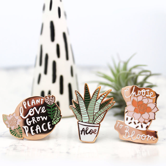 Luxury set of Three Plant Enamel Pins
