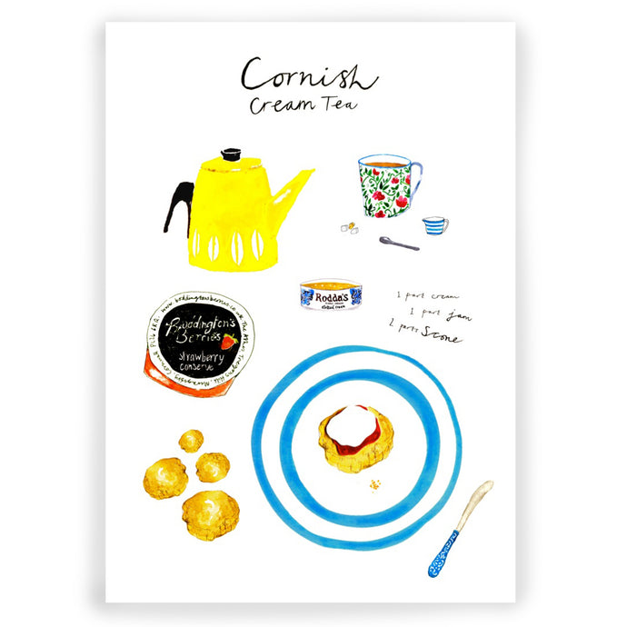 Cornish Cream Tea Illustration Print