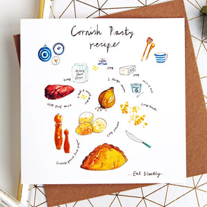 Cornish Pasty Recipe Greetings Card