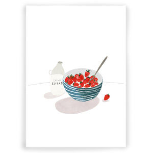 Cornish Strawberries & Cream Giclée Art Print