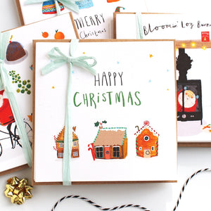 Pack of 6 Gingerbread Houses Christmas cards