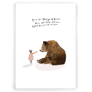 Girl & Bear Giclée Art Print