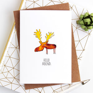Hello Friend Moose Card