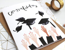 Graduation greetings card mortarboard hat black