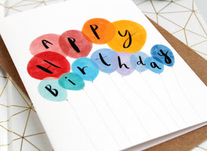Happy Birthday card with balloons by Katy Pillinger designs