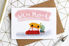 We've moved greetings card red and pink