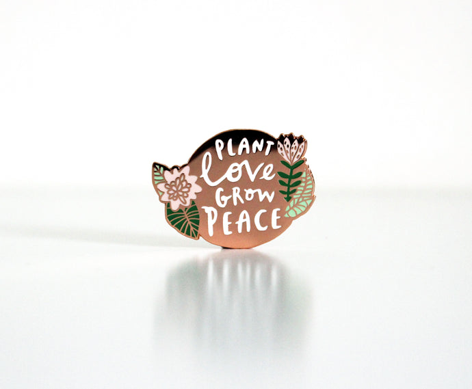 rose gold enamel pin by Katy Pillinger Designs