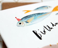 Fish in hats birthday card Birthday Fishes Card