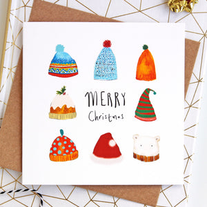 Pack of 6 Winter Hats Festive Christmas Cards