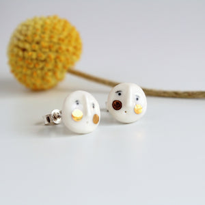 Handmade Ceramic Earstuds with Gold Lustre