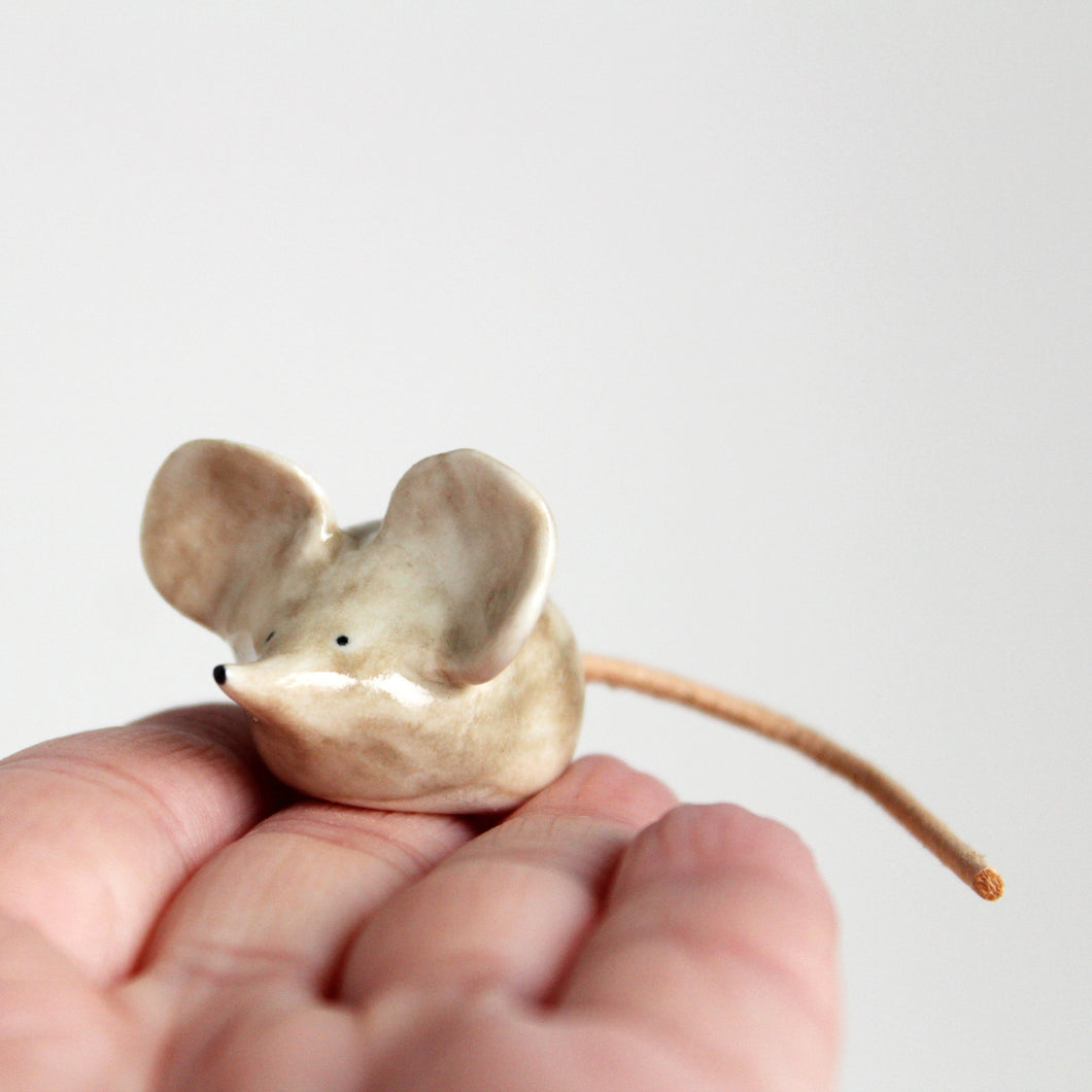 Miniature ceramic shrew ornament