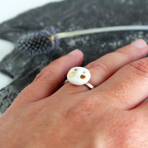 Face Ceramic Sterling Siver & Gold Lustre Ring