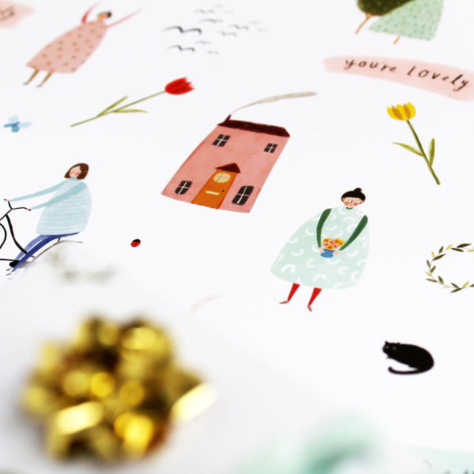 quirky gift wrapping paper by Katy Pillinger Designs