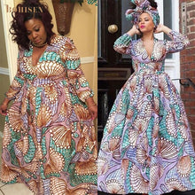 BOHISEN Dashiki African Dresses For Women Autumn Bazin Ankara Dresses Long Sleeve Plus Size Afriacn Print Clothes For Women