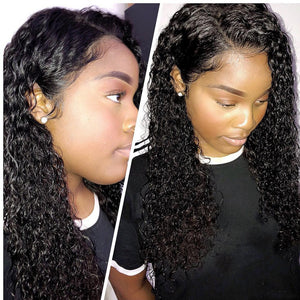 Deep wave curly HD frontal bob wig