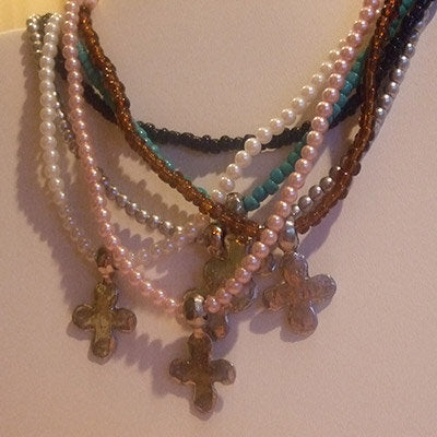 A Little Eye Candy Jewelry - Cross Stretch Necklace-Silver