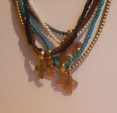 A Little Eye Candy Jewelry - Cross Stretch Necklace-Gold