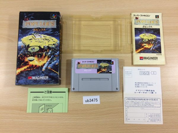 ub3475 Populous BOXED SNES Super Famicom Japan