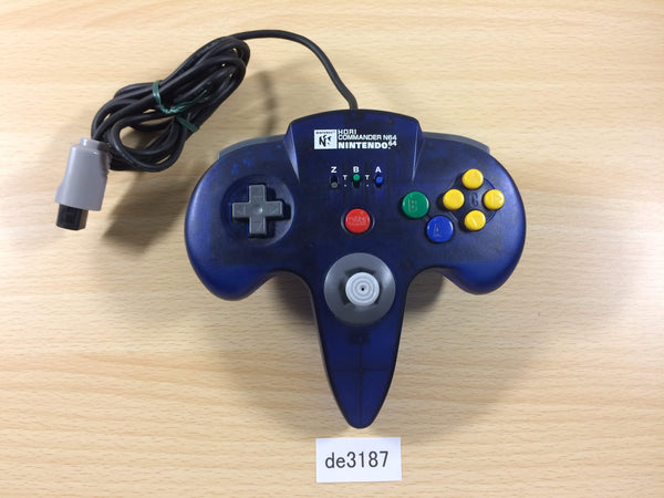 de3187 Nintendo 64 Controller HORI COMMANDER Clear Blue N64 Japan