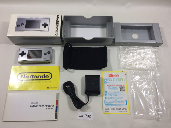 wa1732 GameBoy Micro Silver BOXED Game Boy Console Japan
