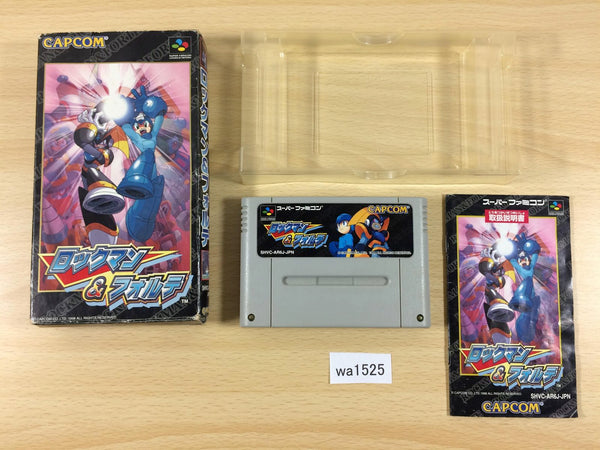 wa1525 Rockman & Forte Megaman & Bass BOXED SNES Super Famicom Japan